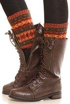 ICONOFLASH Women's Short Fairisle Knit Leg Warmer Boot Cuffs, Orange - $12.86