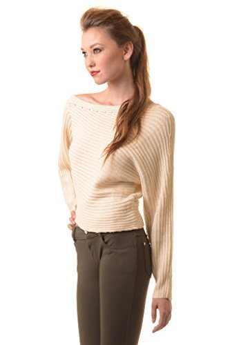 Primary image for ICONOFLASH Women's Asymmetrical Cold Shoulder Cropped Sweater, Medium