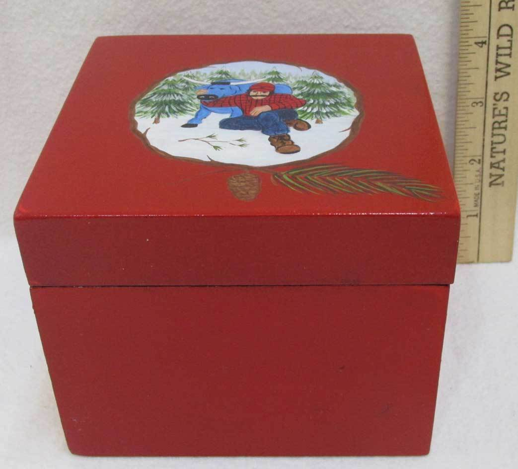 Paul Bunyan & Babe Blue Ox Wooden Trinket Box Storage w/Hand Painted Image Red image 2