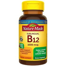 Nature Made Sublingual Vitamin B12 1000 mcg Micro-Lozenges, 50 Count Packaging M