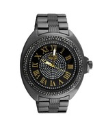 Black Dial Gold Roman Numeral Classic Bling Metal Watch - £32.24 GBP