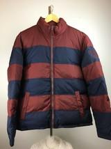 Vintage Tommy Hilfiger Mens Puffer Jacket Coat L XL Maroon Blue Down Cre... - $98.99