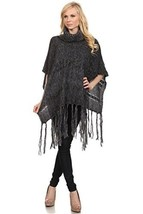 ICONOFLASH Women's Marble Cable Knit Fashion Sweater Poncho, Black - $46.52