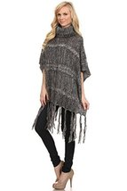 ICONOFLASH Women's Marble Cable Knit Fashion Sweater Poncho, Charcoal - $46.52