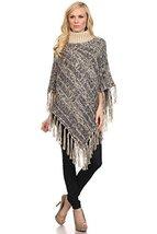 ICONOFLASH Women's Marbled Knit Turtleneck Sweater Poncho Cape, Navy Blue - $64.34