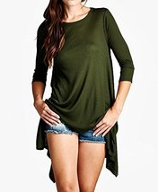 Iconoflash Women's Ribbed Modal Tunic Dress, Made In Usa (Olive, Size Large) - $33.65