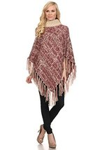 ICONOFLASH Women's Marbled Knit Turtleneck Sweater Poncho Cape, Wine Red - $64.34