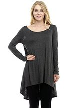ICONOFLASH Women's Casual Heather Charcoal Grey Tunic, Large - $29.69