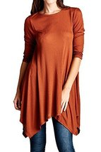 Iconoflash Women's Ribbed Modal Tunic Dress, Made In Usa (Rust, Size Small) - $33.65