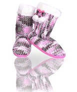 Women's Knit Slippers with Faux Fur Shearling Lining and Rubber Sole (Pi... - $26.72