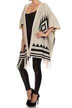 ICONOFLASH Women's Casual Patterned Sweater Shawl Poncho, Beige - $38.60