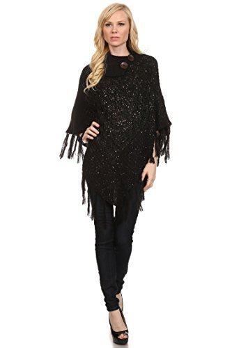 Primary image for ICONOFLASH Women's Metallic Fringed Sweater Poncho Cape, Black