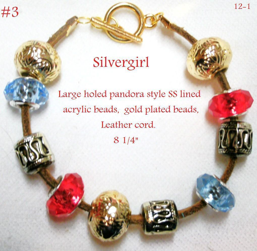 Primary image for Large Holed SS Lined Bead Gold Plate Leather Bracelet Red Blue