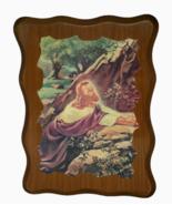 Warner Sallman Jesus Praying Kneeling Mount Olive Hardwood Scalloped Vin... - $19.79