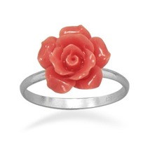 Genuine .925 Sterling Silver Band Ring with Glass Rose - $24.99