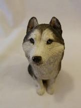 "Sandicast 1997 Dog Figurine Rare 6"" Gray Husky Glass Eyes #M300 Hand Mad... - $49.98"