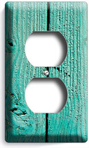 RUSTIC GREEN PAINTED CRACKED WOOD ELECTRICAL OUTLET WALL PLATE COUNTRY C... - $8.99