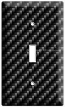 Carbon Fiber Style Single Light Switch Cover Wall Plate Garage Man Cave Art Deco - $8.99