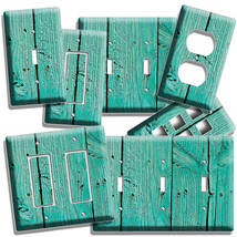 Rustic Green Painted Cracked Wood Light Switch Wall Plate Outlet Counry Cabin - $8.99+