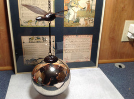 Large Vintage Look Metallic Ball Ornament on Chain with Bird image 1