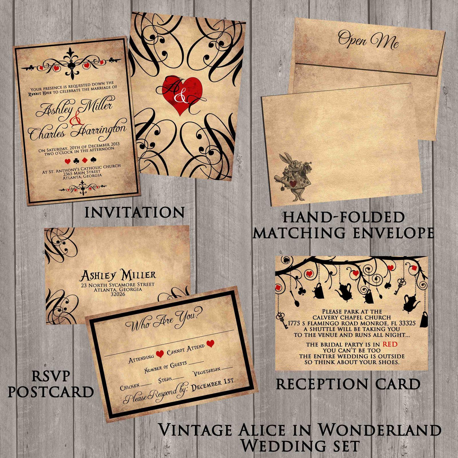 Vintage Alice in Wonderland Wedding invitation Set: RSVP, Reception, Envelope