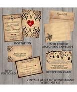 Vintage Alice in Wonderland Wedding invitation Set: RSVP, Reception, Envelope - $2.00