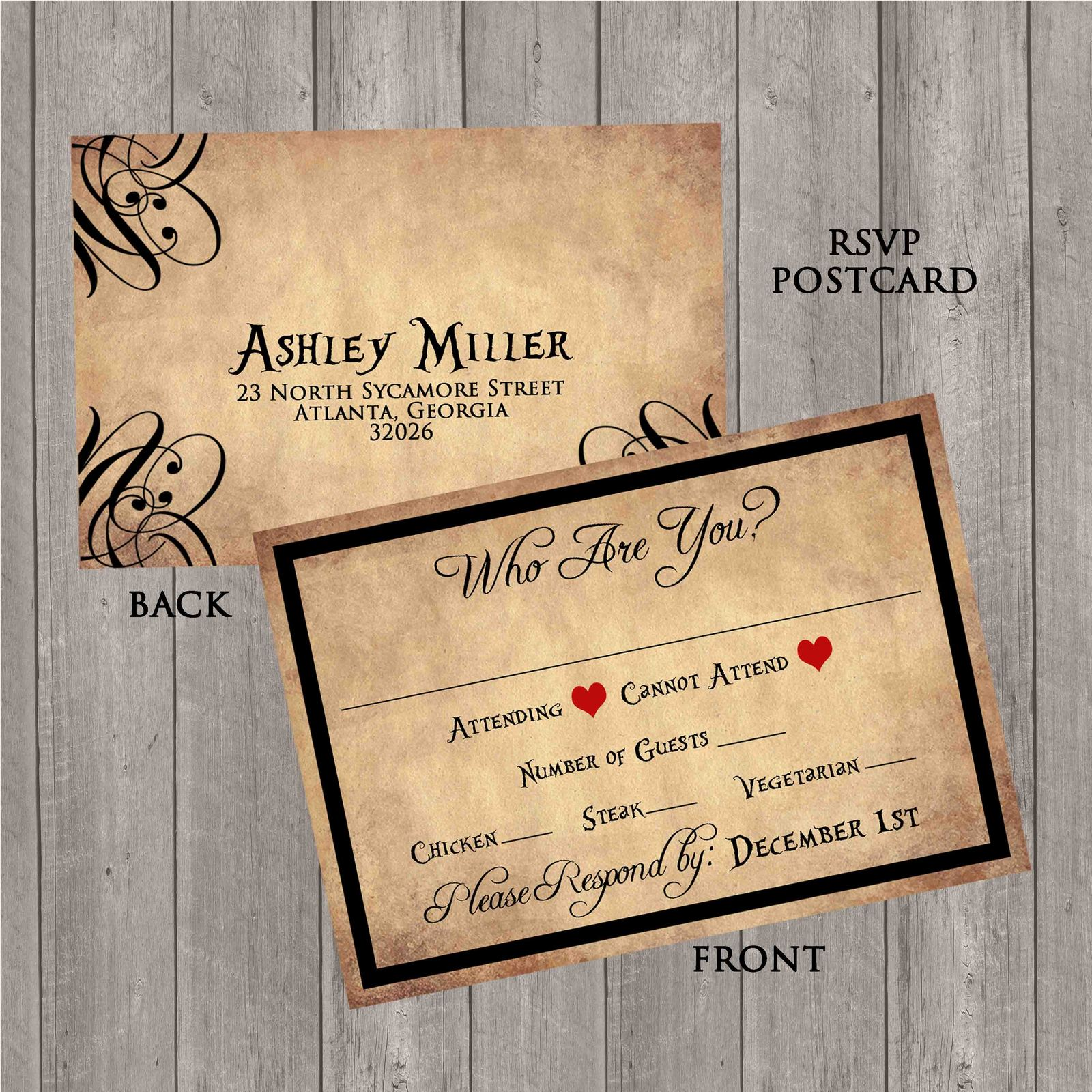 Alice And Wonderland Wedding Invitations: Vintage Alice In Wonderland Wedding Invitation Set: RSVP