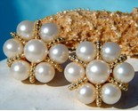 Vintage earrings faux pearl clusters gold tone round clips thumb155 crop