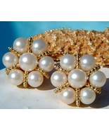 Vintage Earrings Faux Pearl Clusters Gold Tone Round Clips - $19.95