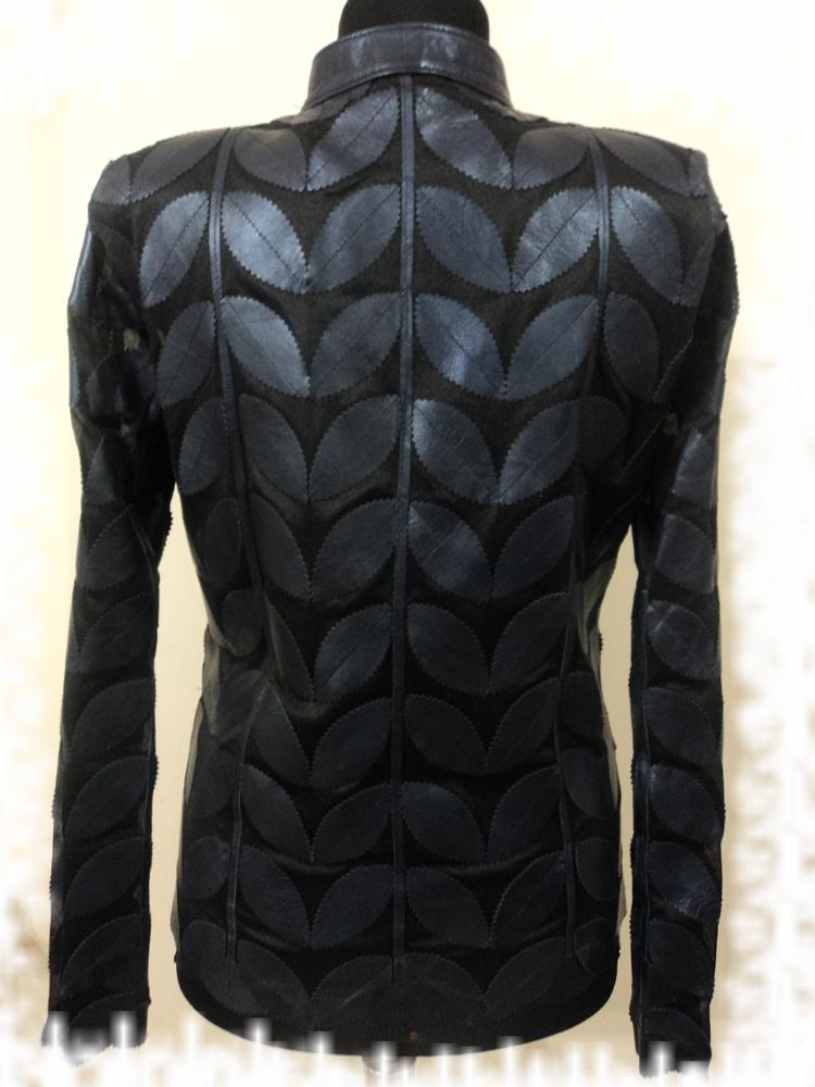 Womens Navy Blue Leather Leaf Jacket : All Regular Sizes Handmade Soft Lambskin