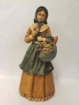 Vintage Peasant Woman Lady Figurine Apron Fruit Bread Basket Bag Resin 1... - $25.24