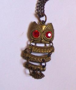 Hand Decorated Bronze Owl Pendant Red Swarovski Crystal Eyes 33 Inch Bronz Chain