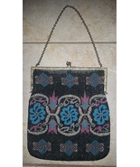 Antique Black Blue Pink Floral Microbeaded Purse Hand Bag - $64.99