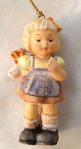 "Goebel 3"" Blond Girl With Gift Figurine Ornament - $17.50"