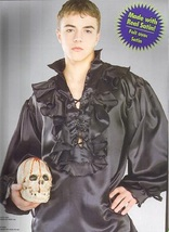 PIRATE MEDIEVAL RENAISSANCE POET SHIRT BLACK SATIN XL - $30.00