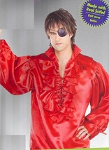 PIRATE MEDIEVAL RENAISSANCE POET SHIRT RED SATIN XL - $30.00
