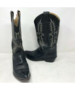 Tony Lama Mens Black Leather Cowboy Boots Size 8.5 D Stallion Western Ra... - $79.19