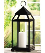 "Large Contemporary CANDLE LANTERN Iron & Glass. LIGHTING 17.5"" Tall (#13... - $44.00"