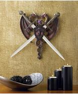 2 Intertwined DRAGONS With Dual Removable SWORDS & COAT OF ARMS Shield (... - $40.00