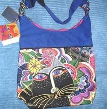 Laurel Burch Scoop Tote Carlotta's Whimsical Multi-Color Zippered Cat Ba... - $24.74