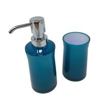 4X PLAIN CLEAR TEAL BLUE WHITE ROUND BATHROOM SOAP DISPENSER &TOOTHBRUSH... - $70.23