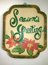 RUSTIC SEASON'S GREETINGS PONSETTIA DOOR PLAQUE - $13.00