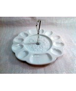 Westmoreland Egg Plate with Metal Handle ~ Vintage White Milk Glass - $24.99