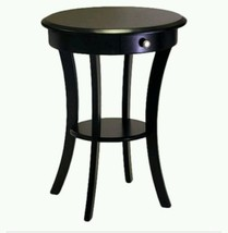 Winsome Round End Table Drawer 2 Shelve Layer Black Wood Top Wooden Home... - $129.03