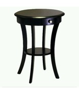 Winsome RoundEnd Table Drawer 2 Shelve Layer Black Wood Top Wooden Home... - $129.03
