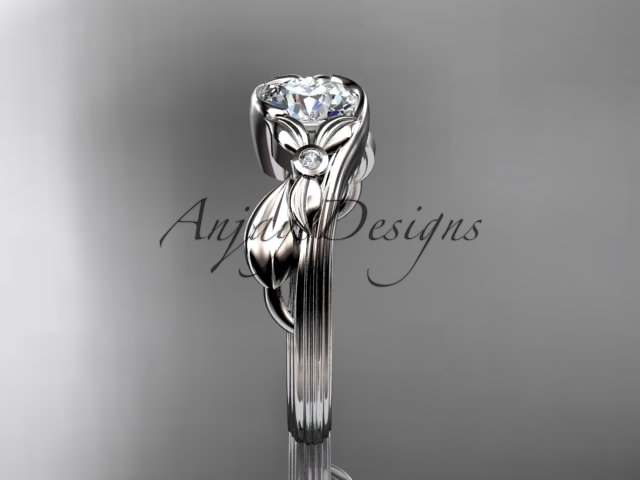 Unique bridal ring, 14kt white gold diamond engagement ring with a Moissanite ce