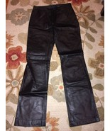 Steve Madden Black Leather Slim Straight Leg Pa... - $22.99