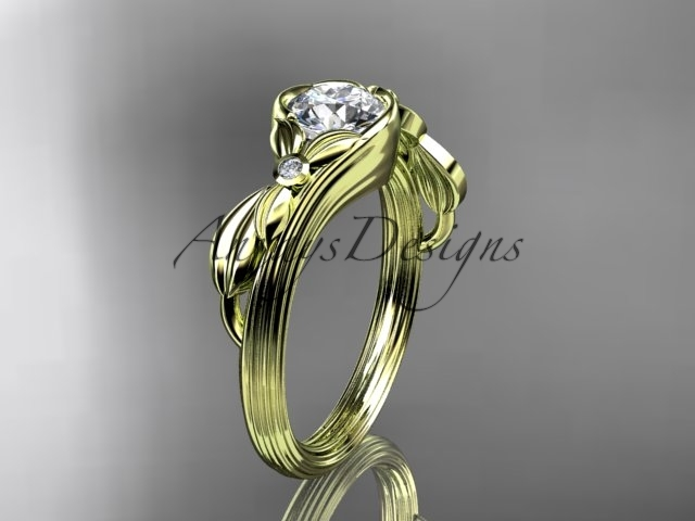 G324 yellow gold  diamond wedding ring  diamond engagement ring  forever brilliant moissanite  1