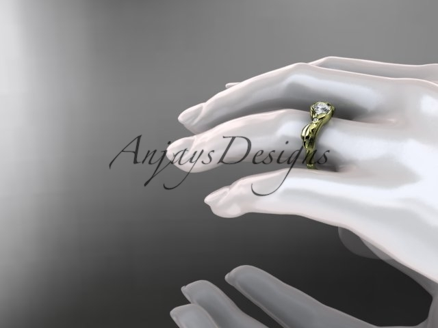Unique 14kt yellow gold floral engagement ring, white sapphire ADLR324