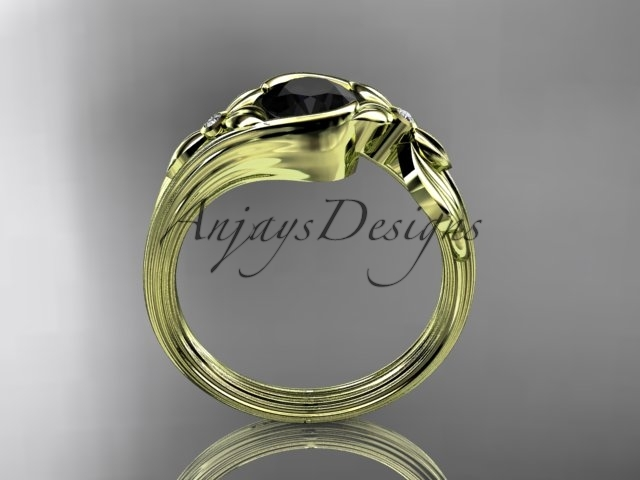 Unique 14kt yellow gold floral engagement ring with black diamond ADLR324